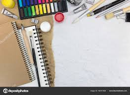 drawing tools. Different Drawing Tools On Recycled Paper Background \u2014 Stock Photo
