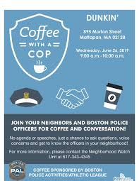 Coffee With A Cop Flyer Coffee With A Cop Is Coming To Dunkin At 895 Morton Street