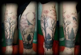 татуировка лес эффектные варианты в фотографиях