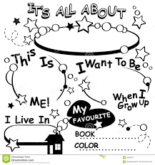 Small Picture Coloring Page All About Me Vector Editable Stock Vector Image