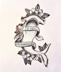 hammerhead shark tattoo drawing. Modren Shark Dotwork Hammerhead Shark With Flowers And Banner Tattoo Design Throughout Drawing G