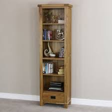 ... Affordable Narrow Wood Bookcase With Drawers Five Shelves With Books  And Modern Decoration Inside One Slot ...