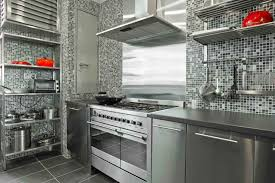 Unique Ikea Stainless Steel Backsplash With Small Tiles Wall Design And  Grey Steel Cabinet