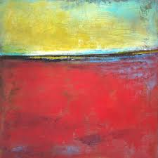 original red abstract landscape painting poppy love