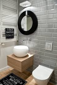 bathroom tile grey subway. Modern Bathroom Design And Gray Subway Tiles Plus Oak Wood Vanity With Floating Style Also Pops Black Motif Enhance Decorative Palette Heated Towel Tile Grey A