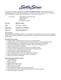 Adorable Material Handler Resume Cover Letter For Your Fedex