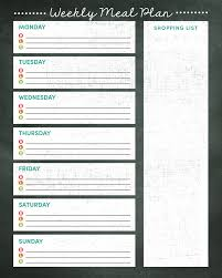 one week menu planner weekly meal planner printable