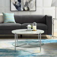 32 in white marble top glass shelf chrome legs round coffee table