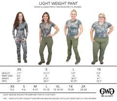 Size Chart Lightweight Pants Girls With Guns