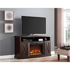ameriwood furniture barrow creek electric fireplace tv stand for tvs up to 60 espresso