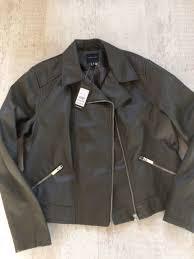 bnwt new look faux leather khaki biker jacket size 16