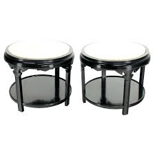 round marble top end table pair of round black lacquer inspired marble top end tables for