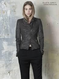lyra leather biker jacket in port