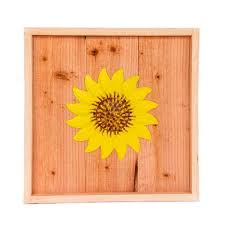 wood wall art with yellow sunflower