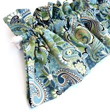 blue and green kitchen valance