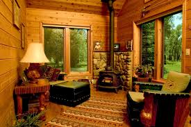 Decorations:Small Cabin For Hunting Room With Corner Stone Fireplace Also  Timber Wood Walls Small
