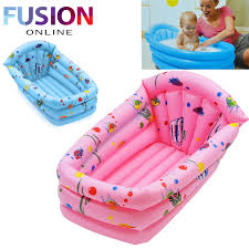 inflatable baby childrens kids bath tub travel infant washing wash tub pink blue