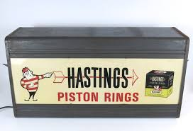 details about vtg advertising hastings piston rings dual lighted countertop parts catalog rack