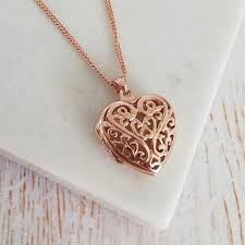necklaces engraved rose gold filigree heart locket necklace rose