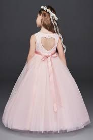 Davids Bridal Flower Girl Size Chart Ball Gown Pink Flower Girl Dress With Heart Cutout Davids