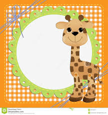 Cute Template Cute Template For Postcard With Giraffe Stock Vector Illustration
