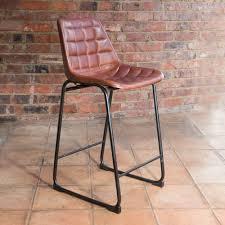 j n rusticus vintage leather metal foula bar stool brass black