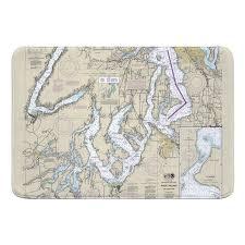 Hollandale Puget Sound Southern Wa Nautical Chart Memory Foam Bath Rug