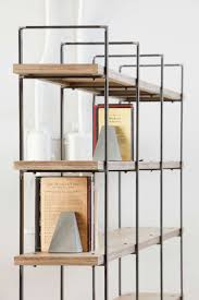 Bookcase with metal uprights and wooden shelves from oak or painted  plywood. Custom size available on request. See more at https://dmod.gr/ |  Pinterest ...