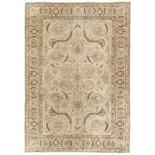antique tabriz carpet fine handmade oriental rug pale blue taupe brown for