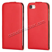 whole genuine leather vertical flip magnetic phone case for iphone 8 plus 5 5 inch red