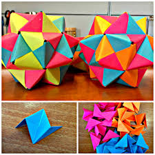picture of post it origami icosahedron