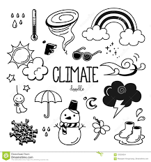 Climate Doodle Hand Drawing Styles Climate Stock Vector