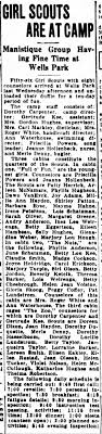 Jeanne Hollenbeck--nurse and leader at Girl Scout camp. The Escanaba Daily  Press, 13 Jul 1938, p 8. - Newspapers.com