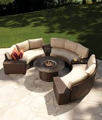 ... Circular Outdoor Furniture Patio Dining Sets Round Wicker And Quartz  Fire Pit Table With ...