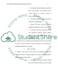 Literature Review Outline Literature Review Outline On Improving Reading Fluency In