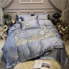 bedding set luxury retro embroidery quilt cover flat sheet pillowcase