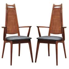 century furniture dining room chairs details about pair vine mid century danish modern teak caned tall