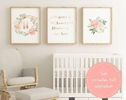 Printable Blush Baby Girl Nursery Decor, Large Nursery Decor, Blush Nursery  Wall Art,