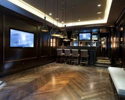lighting basement. example of a trendy underground dark wood floor and brown basement design in chicago lighting