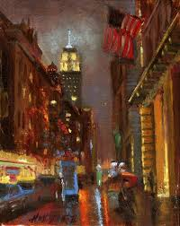 empire state building at night nyc 10 x 8 in original oil on canvas by