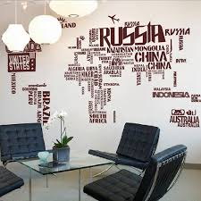 world map wall decal in brown