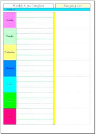 Monthly Dinner Planner Excel Menu Planner Monthly Free Printable Templates Editable