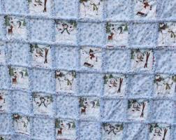 Snowman rag quilt | Etsy & Adorable Cozy Flannel Snowman Rag Quilt Blue Shades 60