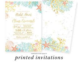 Couple Wedding Shower Invitations Beach Theme Bridal Shower Invitation Couples Shower Wedding Shower Coral Turquoise Gold Starfish Printed Beach Bridal Shower Invites
