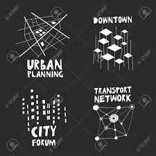 theme urban vector set of trendy logos on the theme of urban planning city