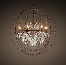 unique crystal and metal orb chandelier twin orb crystal rustic iron chandelier modernized rustic iron oblong