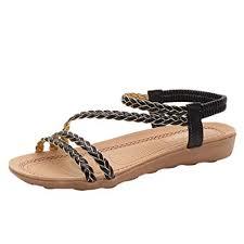 Buy Boomboom <b>Women</b>'<b>Sandals Summer Flat Sandals</b> Braided ...