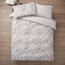 wilko paisley print grey king duvet set