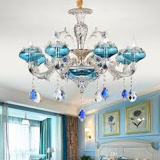 new blue crystal chandelier european chandeliers lighting living room bedroom restaurant silver chandeliers ktv bar crystal pendant lamp modern ceiling