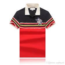 19ss summer new men s wear designer t shirt front red yellow blue white striped lapel